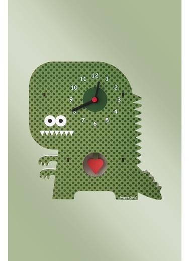 Peoples Clock Kalpli Dinozor Sallanan Sarkaçlı Çocuk Odası Duvar Saati Renkli